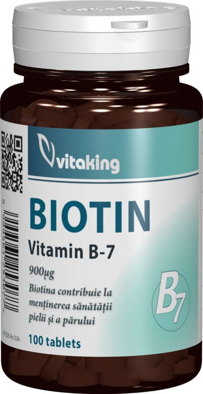 Vitamina B7 (Biotina) 900mcg, 100 comprimate - Vitaking