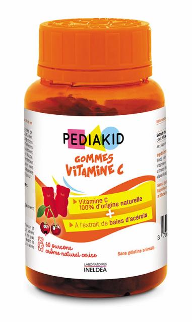 Vitamina C naturala pentru copii cu aroma de cirese, 60 jeleuri ursuleti - Pediakid
