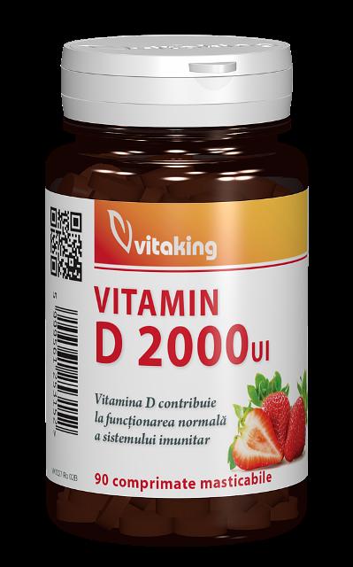 Vitamina D 2000 UI, 90 comprimate masticabile - Vitaking