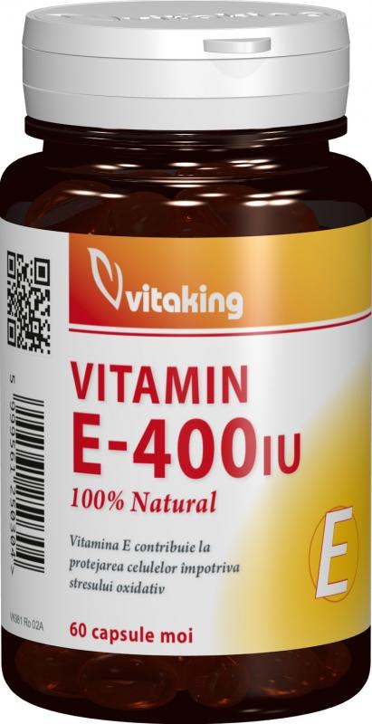 Vitamina E naturala 400 UI, 60 cps gelatinoase- Vitaking