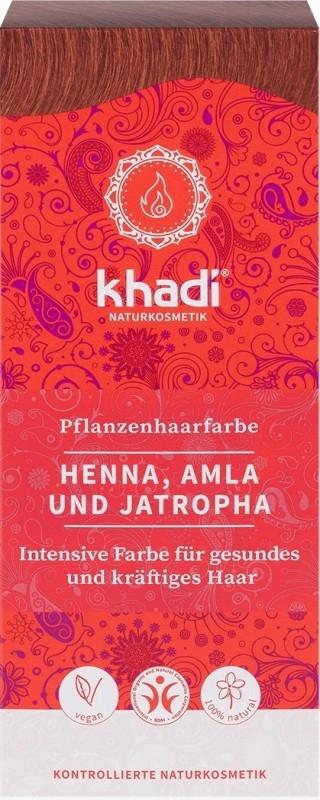 Vopsea de par naturala Rosu (Henna, Amla si Jatropha) - Khadi