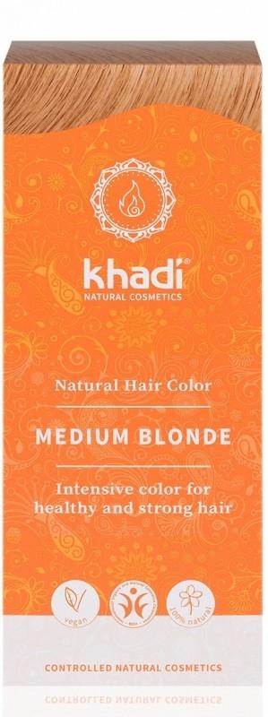 Vopsea de par naturala Henna Blond Mediu - Khadi