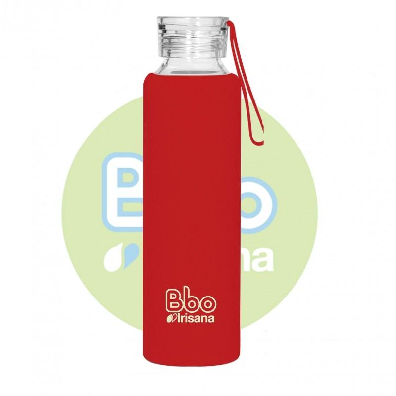 Sticla reutilizabila din borosilicat cu husa de silicon, 550 ml ROSU - Irisana