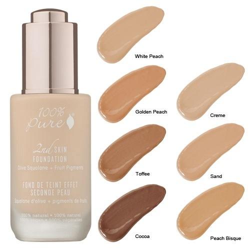 Fond de ten serum cu efect 2nd Skin, no.4 (Peach Bisque) - 100 Percent Pure Cosmetics