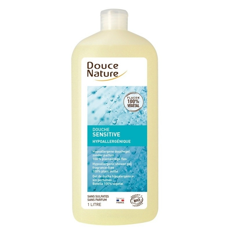 Gel de dus hipoalergenic fara parfum si sulfati, format familial 1L - Douce Nature