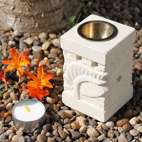Lampa aromaterapie din piatra sculptata manual, Carved Leaf - Ancient Wisdom