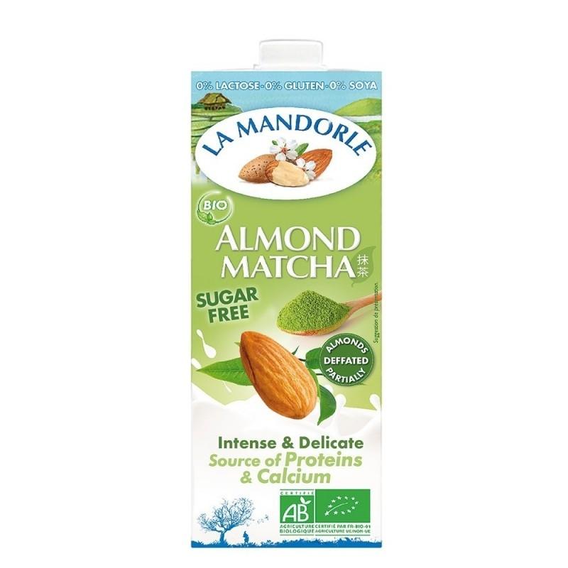 Lapte BIO de migdale cu matcha, fara zahar, 1L - La Mandorle