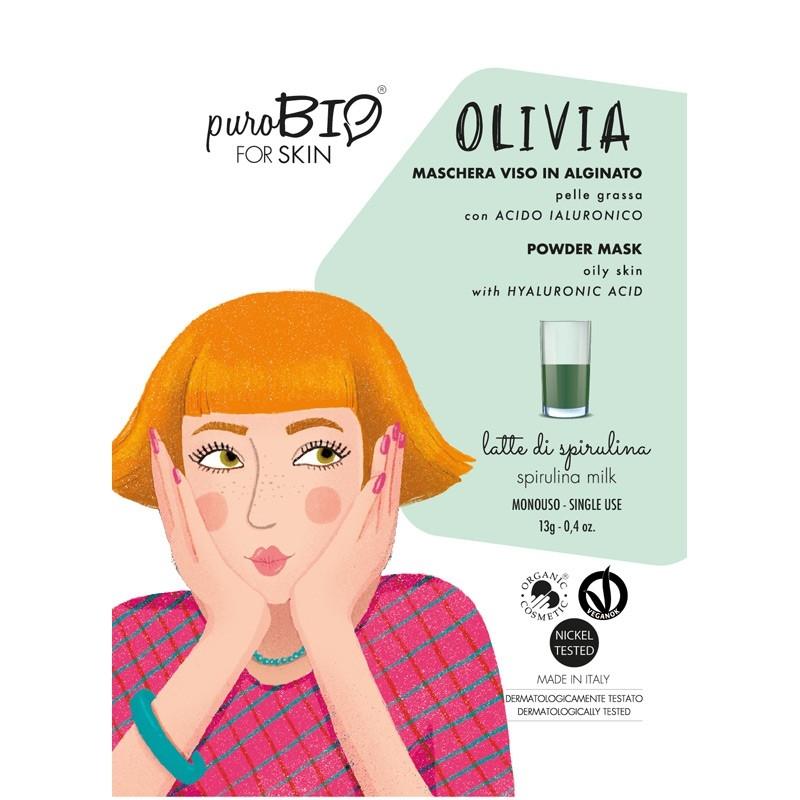 Masca peel-off ten gras OLIVIA spirulina, 13g - PuroBio