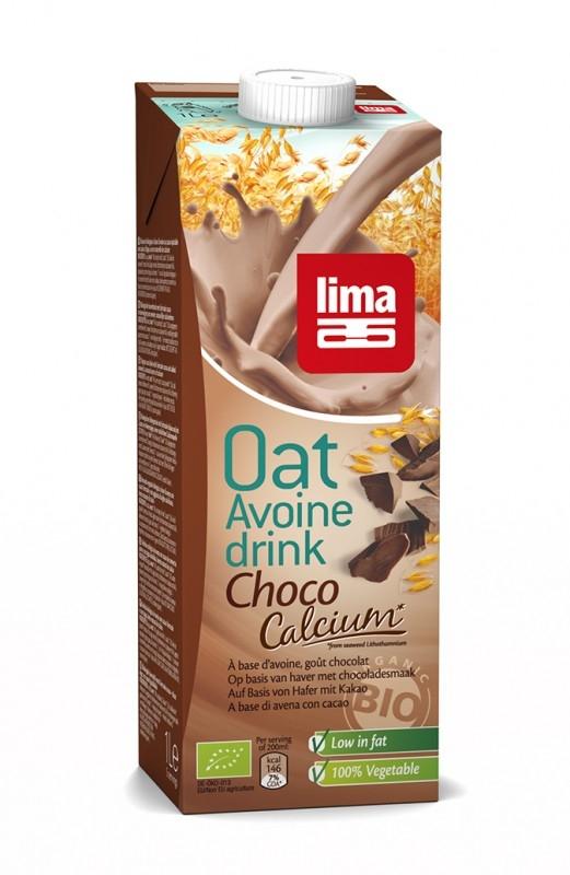 Lapte de ovaz  bio cu ciocolata si calciu, 1L - Lima
