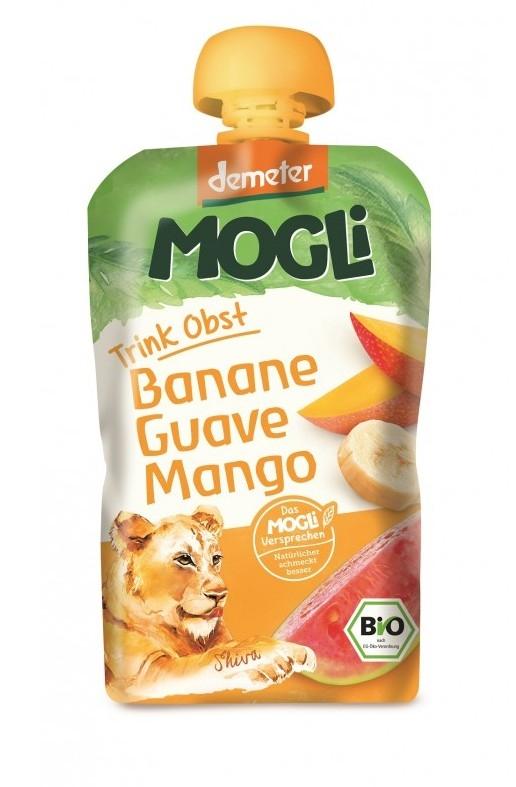 Piure bio din fructe cu banane, guave si mango, 100g - Mogli