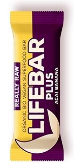 Baton Plus cu acai si banane raw bio, 47g - Lifebar