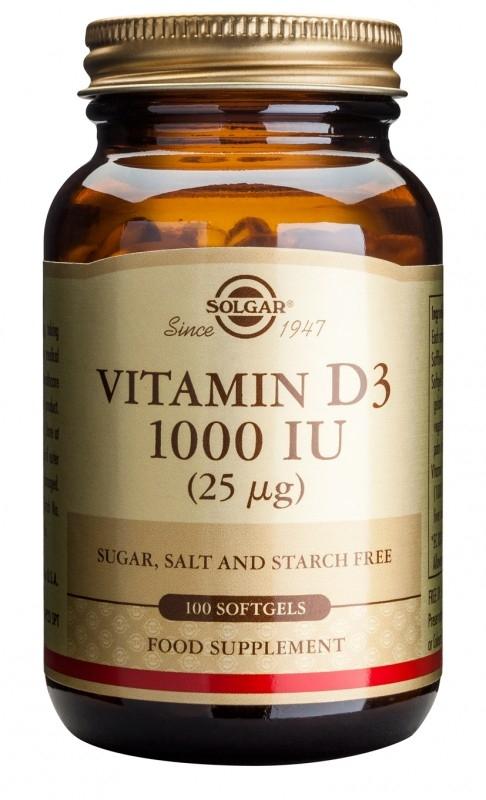 Vitamina D3 1000 UI (25 µg), 100 capsule moi - Solgar