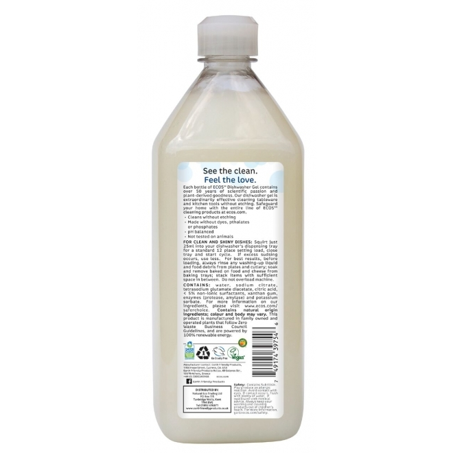 Detergent lichid pentru masina de spalat vase Fara Parfum, 950 ml - ECOS